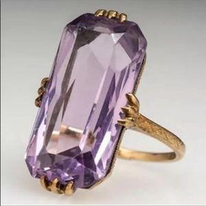 New Long Shape Acrylic Purple Stone Ring